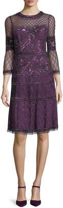 Aidan Mattox Embroidered Sheer Bell-Sleeve Cocktail Dress