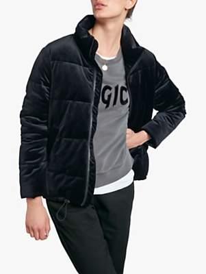 Velvet Puffer Jacket, Black