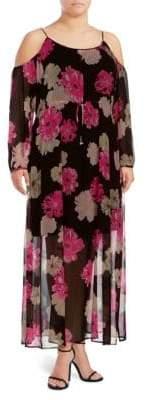 Calvin Klein Plus Floral Cold-Shoulder Dress