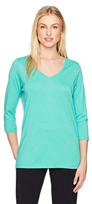 Hue Sleepwear Women's Solid 3/4 Sleeve V-Neck Tee