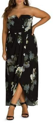 City Chic Plus Orchid Dreams Strapless Maxi Dress