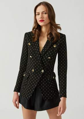 Emporio Armani Double-Breasted Ottoman Jacket With Lurex Polka Dots