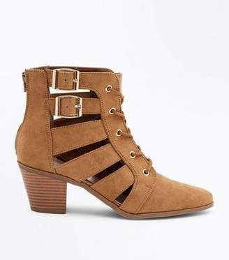 New Look Tan Cut Out Lace-Up Heeled Boots