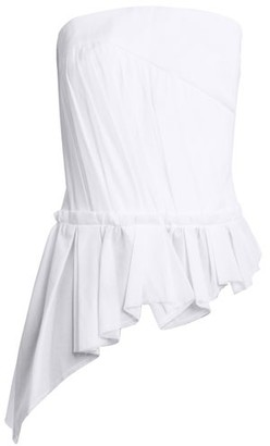 Saint Laurent Asymmetric Gathered Strapless Top - Womens - White