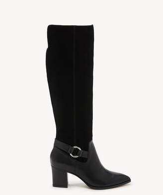 Sole Society Women's Daleena Tall Heeled Boots Black Size 5 Leather Suede From