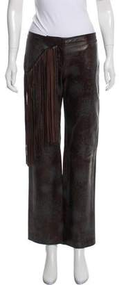 Just Cavalli Mid-Rise Fringe-Trimmed Pants