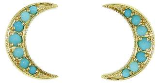 Andrea Fohrman Turquoise Crescent Moon Studs - Yellow Gold