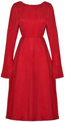 Sarvin - Shay Red Long Sleeved Backless Midi Dress