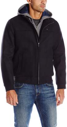 Tommy Hilfiger Men's Technical Wool Varsity Baseball Bomber with Soft Shell Hood