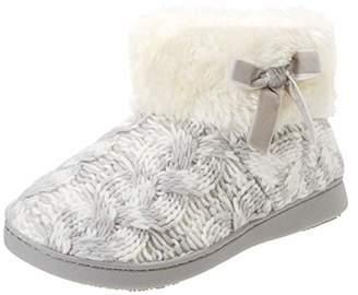 Isotoner Women's Knit Boot Faux Fur Cuff Slipper Low-Top,37 EU