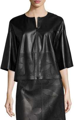 Lafayette 148 New York Sabina Laser-Cut Leather Jacket, Black $599 thestylecure.com