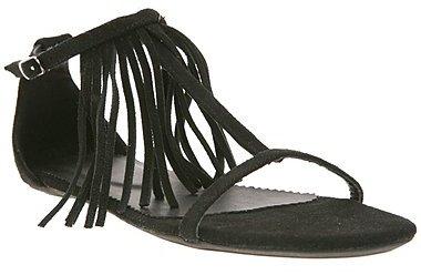 Suede Fringe T-Strap Sandal