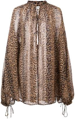 Saint Laurent sheer leopard print tunic
