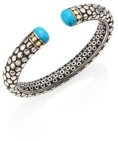 John Hardy Dot Small Turquoise, Sterling Silver& 18K Yellow Gold Kick Cuff
