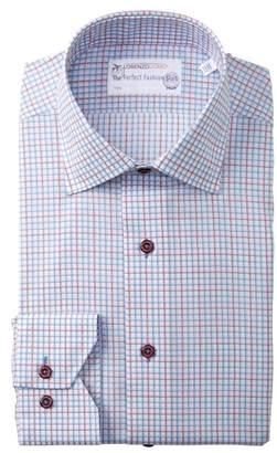 Lorenzo Uomo Windowpane Check Trim Fit Dress Shirt