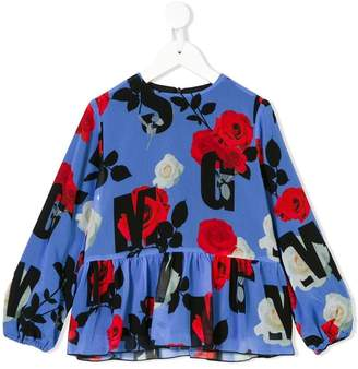 MSGM Kids mixed-print peplum blouse