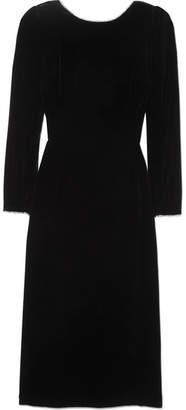 Gucci Crystal-embellished Bow-detailed Velvet Dress - Black