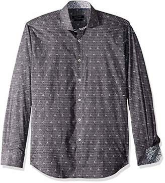 Bugatchi Men's Tailored Fit Diamond Long Sleeve Shirt