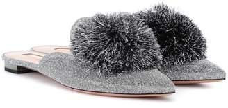 Aquazzura Powder Puff glitter slippers