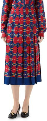 Gucci GG Waves Border Print Silk Twill Skirt