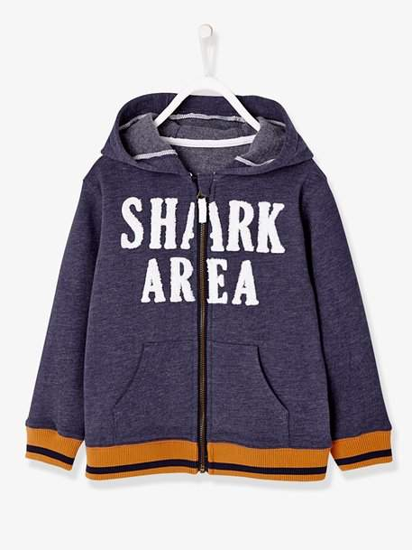 Boys' Jacket with Zip and Hood - blue dark solid with design