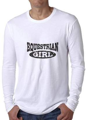 Hollywood Thread Trendy Horseback Riding Equestrian Girl Graphic Men's Long Sleeve T-Shirt