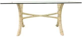 One Kings Lane Vintage Rattan Glass-Top Table - Jacki Mallick Designs