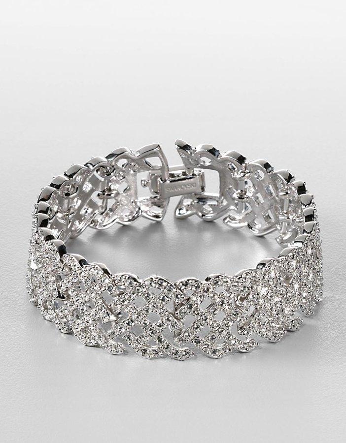 Swarovski Silvertone Crystal Pavé Bangle Bracelet