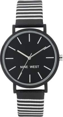 Nine West Women's Black & White Striped Watch