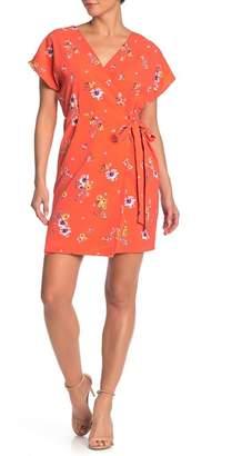 Bobeau Floral Short Sleeve Crepe Wrap Dress