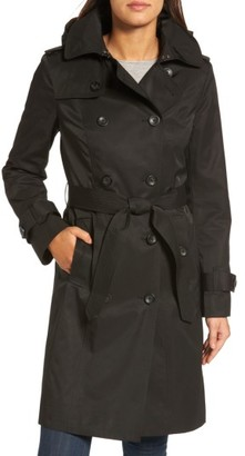 Women's London Fog Hooded Double Breasted Long Trench Coat $229 thestylecure.com