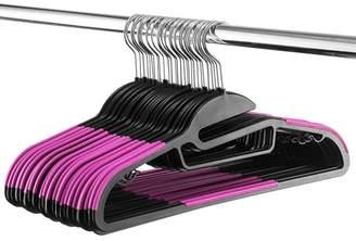 Shopokus ShopoKus Space Saving S-Shape Clothes Hangers Multifunctional Ultra Thin Nonslip Hangers with Collar Saving U-Slide Slit, Scarf and Tie Bar, Strap Hooks, 360 Chrome Swivel Hook, 30 Pack