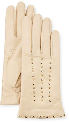 Portolano Studded Leather Gloves, Parchment