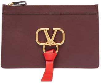 Valentino V Ring Leather Pouch - Womens - Burgundy