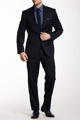 Calvin Klein Navy Solid Two Button Notch Lapel Slim-Fit Wool Suit