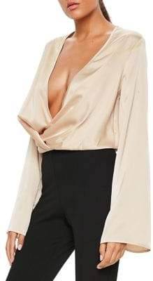Missguided Drape Plunge Flared-Sleeve Bodysuit