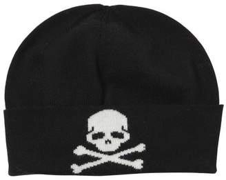 Philipp Plein Junior Skull Intarsia Wool Knit Beanie Hat