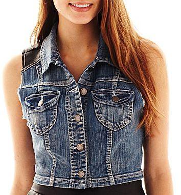 JCPenney Faux-Leather Detail Vest