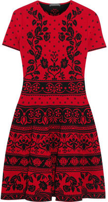 Alexander McQueen - Jacquard-knit Mini Dress - Red $1,995 thestylecure.com
