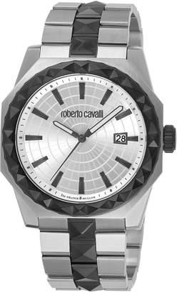 Roberto Cavalli RV1G018M0086 Silver-Tone & Black Watch