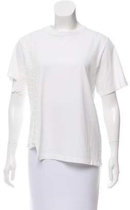 Public School Asymmetrical Lace-Trimmed T-Shirt