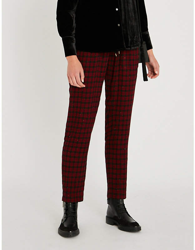 High-rise metallic checked flannel tapered trousers