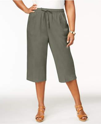 Karen Scott Plus Size Cotton Drawstring Capri Pants, Created for Macy's