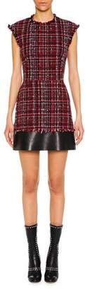 Alexander McQueen Cap-Sleeve Tweed Short Dress with Leather Trim