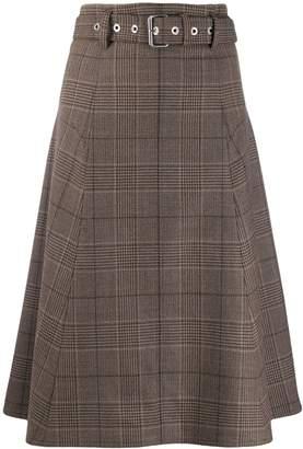 Proenza Schouler belted checkered skirt