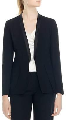 Halston Long Sleeve Slit Cuff Wool Blazer
