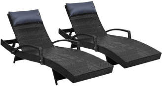 Dwell Outdoor Set of 2 Odessa PE Wicker Outdoor Sun Lounges