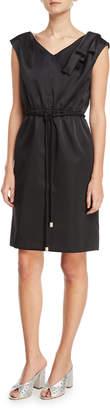 Marc Jacobs Cap-Sleeve Drawstring Satin Dress