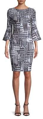 Calvin Klein Plaid Bell-Sleeve Sheath Dress