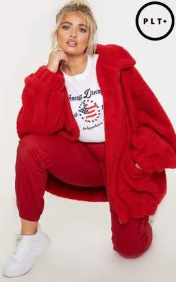 PrettyLittleThing Plus Red Borg Pocket Front Coat